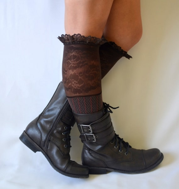 brown lace boot socks leg warmers lace boot socks girly by