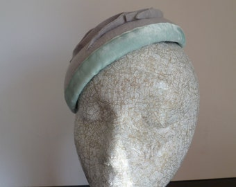 SALE    Grey Felt  Hat  with Velvet Trim