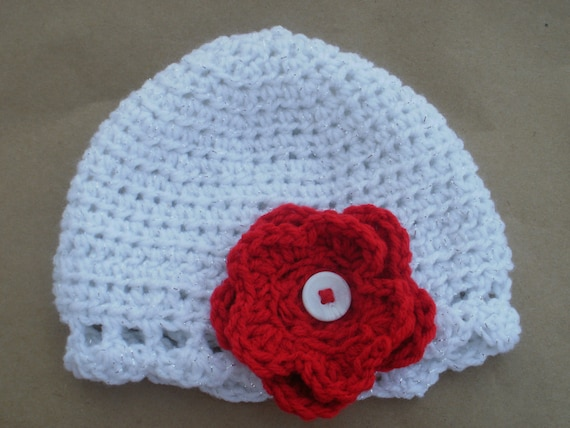 Holiday Sparkle Scalloped Edge Infant Girls Floral Hat