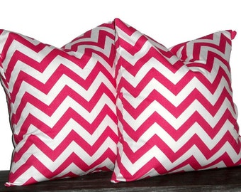 """26"""" Decorative Pillows Candy Pink and White Chevron- 26 x 26 inch square - TWO PILLOW COVERS"""
