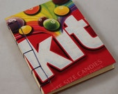 Handmade Hand Bound Upcycled Mini Pocket/Purse Skittles Notebook