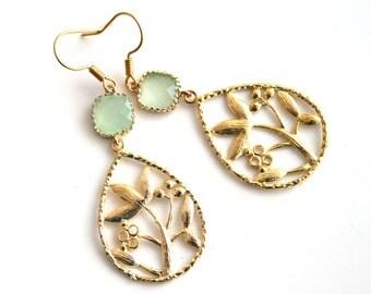 Oriental garden gold earrings, light green dangle earrings, bridesmaids gift, wedding jewelry