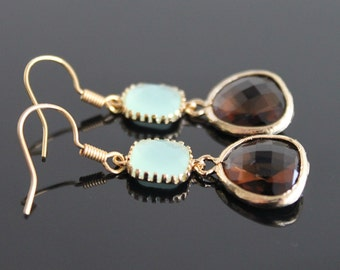Frosted mint brown crystal earrings, green opal smokey glass earrings,  long dangle earrings, bridesmaid gifts. Wedding jewelry.