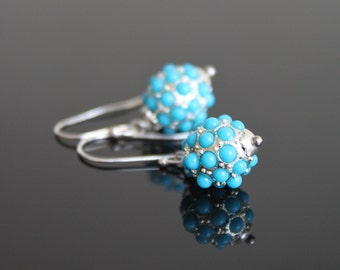 Bubbles turquoise sterling silver earrings, inlaid beads small earrings, simple everyday jewelry