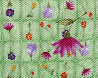 Mint Green Carnation Fabric Checker ed with red Purple Orange Flowers ...