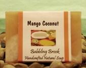 Mango Coconut handmade natural soap, moisturizing, tropical scent, cruely free, vegan
