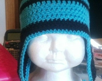 Crochet Pattern Earflap Hat Striped Beanie Instant Download