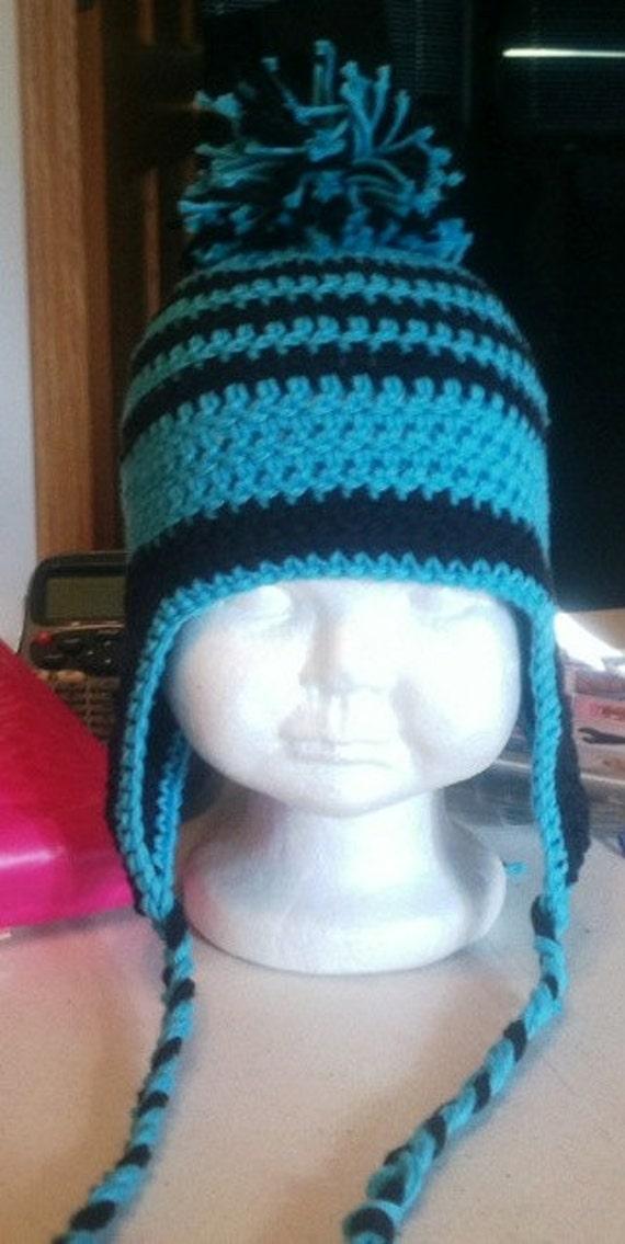 Crochet Pattern Earflap Hat Striped Beanie Instant Download