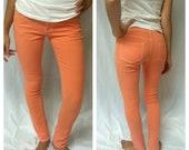 Peach/Lime Denim Skinny Jean Colored Pants Sizes 3, 5, & 7