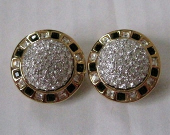 Bridal Swarovski Earrings Round Gold Tone with Pave Crystals Clips