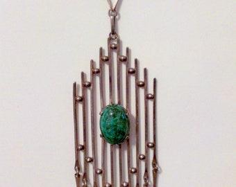 Long Modern Brutalist Sterling Silver Chrysocolla Eilat Necklace