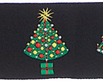 CHRISTMAS TREES on Black Jacquard Ribbon - 1.5""