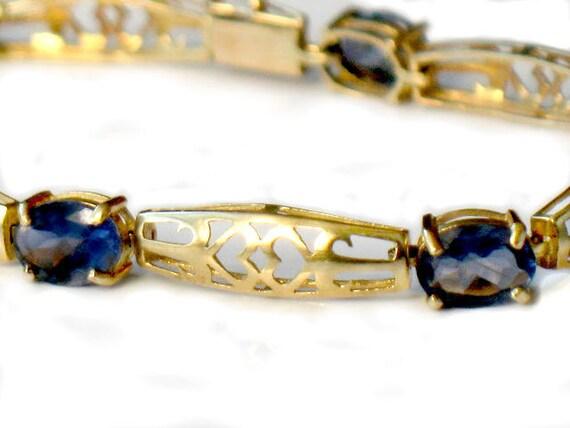 14k GOLD VIOLET IOLITE Bracelet Victorian Style Filigree Gold High Fashion Collectable Jewelry Purple Blue Violet Gemstone