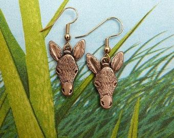 Bronze Donkey Earrings