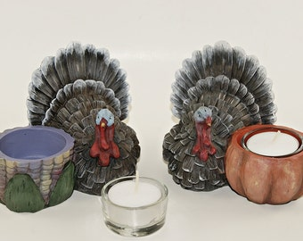 Two Tea Light Candle Holders,Hand Painted Resin Turkey Figurine, Thanksgiving Decoration, Home Decor