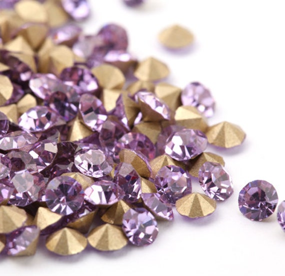 Light Violet Pointed Back Crystal Rhinestones Lilac 2mm