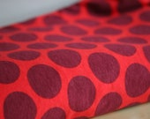 1 Metre Dark Red 'Maxi dots' Organic Stretch Jersey