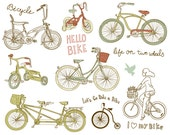 14 Hand Drawn Vintage Bicycles digital clip art set, scrapbooking, wedding invitations, cards, stationary, Personal and Small Commercial Use