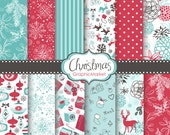 12 Christmas Digital Scrapbook Paper pack for invites, card making, digital scrapbooking, Retro Shabby, Personal and Commercial Use