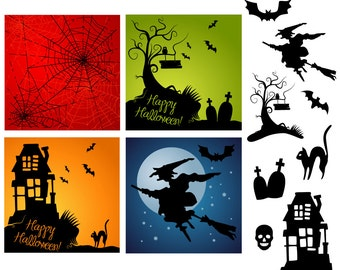 Halloween Clip Art, digital paper cards - scrapbooking, party invitations, Halloween Clipart, Personal and Small Commercial Use.