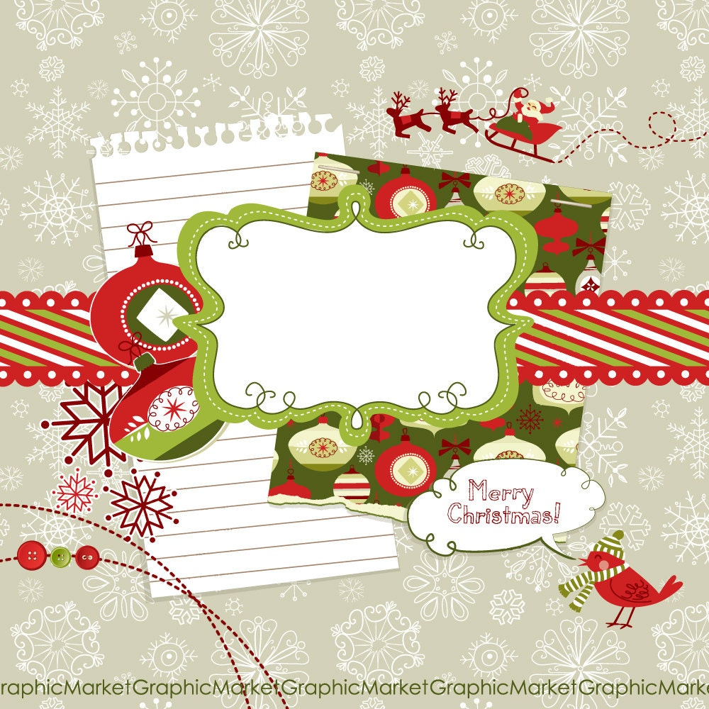 christmas digital scrapbook embellishments by graphicmarket