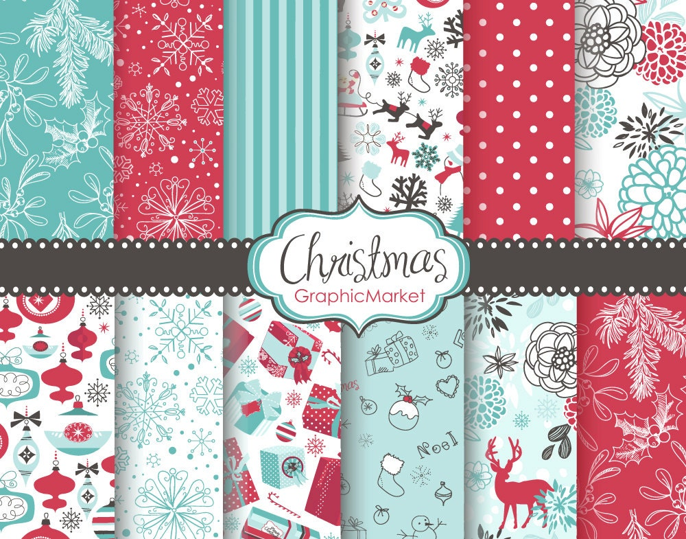 12 Christmas Digital Scrapbook Paper Pack For Invites Card