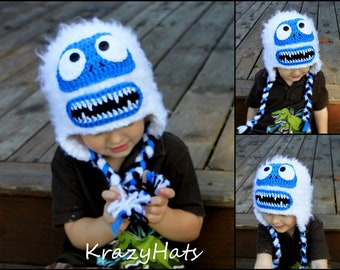 Snow Monster hat.Crochet hat.Made to Order from 6 month old to Adult Sizes.