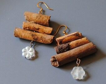 pine wood earrings