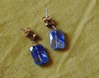 Faceted blue glass earrings*