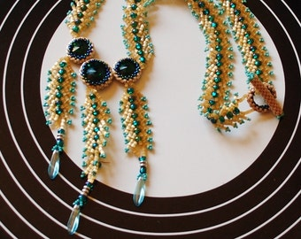 Yellow and emerald rivoli necklace (#2)