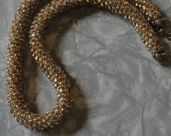Brass lined E bead crocheted rope (#2)