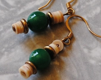 Green and shell earrings