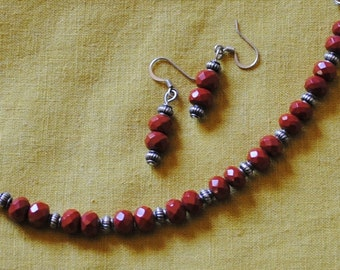 Red jasper bracelet and earrings