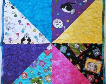 Cat Quilt, Kitty Quilt, Pet Quilt, Cat blanket, handmade, 100% Cotton Fabric  (1)