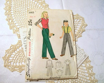1950s Simplicity Pant Outfit Pattern - Girl's - 2003 - Size 10 - Complete