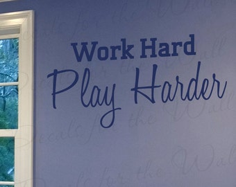 Work Hard Play Harder Inspirational Motivational Kid Sports Vinyl Lettering Quote Large Wall Decal Art Sticker Decoration Saying Decor I03
