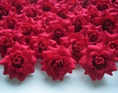 100 Red mini Roses Heads - Artificial Silk Flower - 1.75 inches - Wholesale Lot - for Wedding Work, Make Hair clips, headbands