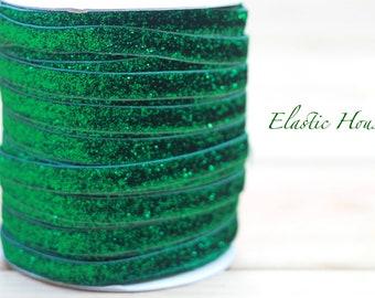 "3/8"" Glitter Elastic  - Emerald Color - Green Emerald Glitter Elastic - Glitter Elastic - Velvet Glitter Elastic- Hair Accessories Supplies"