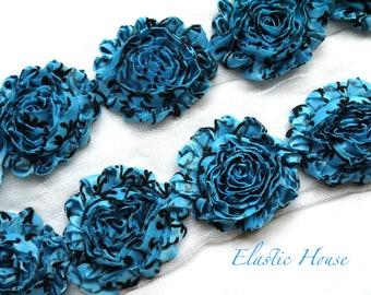 "Sale 2.5"" Shabby Rose Trim- Blue/Turquoise Damask - Chiffon Trim - Hair Acessories Supplies"