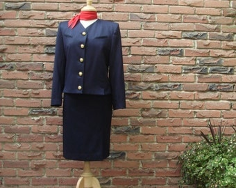 FREE SHIPPING, Classic Navy Suit with Large Gold Nautical Buttons, Stewardess Style Navy Suit