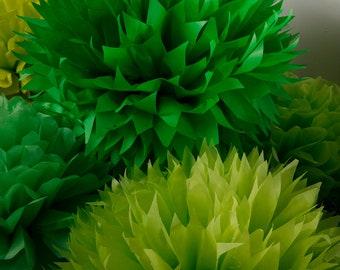 Tissue Paper Pom Poms  Set of 9 - All Green