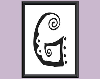 Typography Giclee Print Monogram Initial Wall Art SpaGirl Letter G