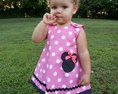 Minnie Mouse A-line dress • disney minnie dress• pink ploka dot dress