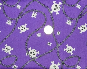 Skull and Barbed Wire School of Rock Purple  - Fabric By The Yard