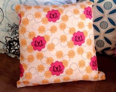 "12""x12"" Accent Pillow - ""Pink Lotus Pattern"""