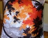 "JAPANESE MAPLES in autumn fall colours, hand made pillow cushion vintage kimono Ikat silk & cotton furoshiki dragonfly 50cm 20"" sq"