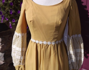 Bridesmaid's Dress Vintage 1972 Gold Chiffon Size 10 One of Two
