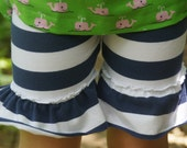 Navy and White knit ruffle shorties, size 3