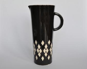 SALE Vintage Ceramic Pitcher with Handle. Black with cream diamonds.  1930s.  1950s.