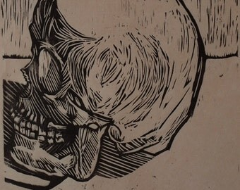 Hand-Pulled Woodcut Skull no.10